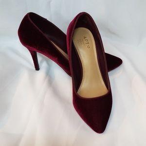 Apt.9 Ruby Red Velvet Heels